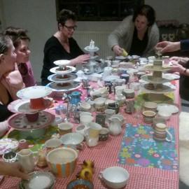 Workshop etagère maken van servies